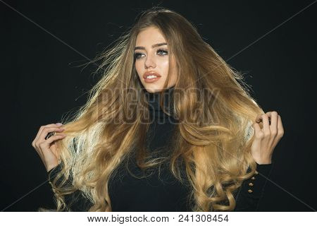 Sensual Blonde Model With Gorgeous Hair. Luxury Look. Fashion Woman Hair Style. Cosmetic, Beauty, Sk