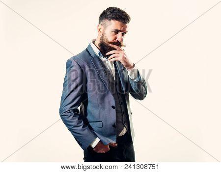 Thinking, Businessman, Business, Success. Pensive Smart Successful Bearded Businessman In Elegant Su