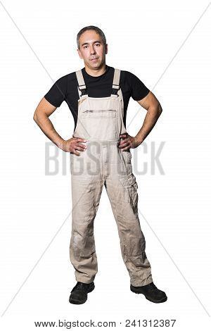 Confident Male Man Worker Specialist Plumber, Engineer Or Constructor In White Dirty Old Shabby Work
