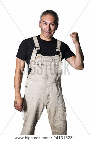 Male Man Worker Specialist Plumber, Engineer Or Constructor In White Dirty Old Shabby Working Suit,