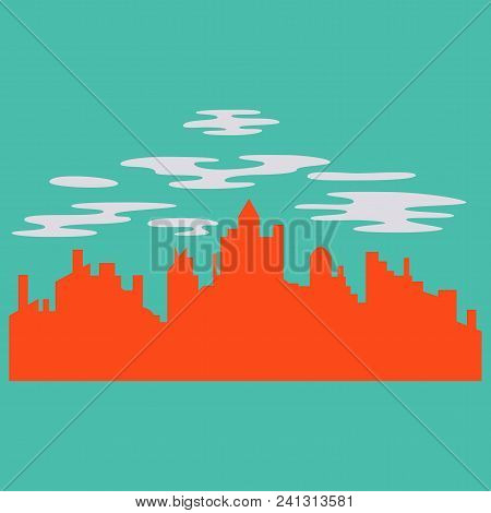 Night City Vector Illustration. Dark Urban Scape. Night Cityscape In Flat Style. Night City Skyline