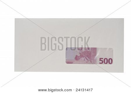Closed white envelope with euro