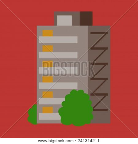 A Modern Multi-storey Building With A Complex Design. The Concept Of Construction. Vector Illustrati