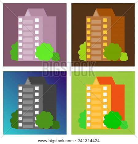 Set Of Modern Multi-storey Building With A Complex Design. The Concept Of Construction. Vector Illus