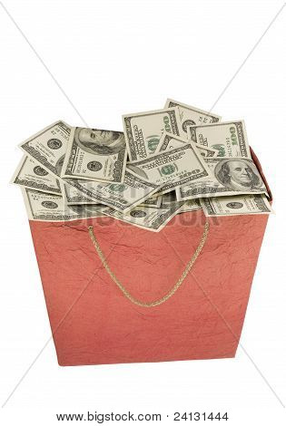 Money in a red Shopping Bag.