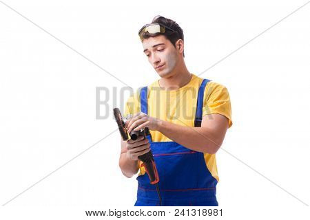 Contractor employee with sander isolated on white background