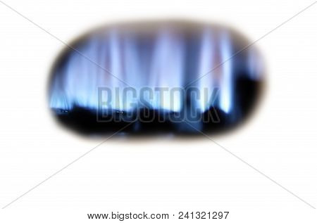 Home Gas Fired Boiler, Water Heater. Gas Fire Close Up. Selective Focus.