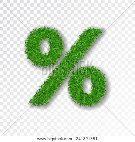 Grass Symbol Percent. Green Percent, Isolated On White Transparent Background. Green Grass 3d Percen