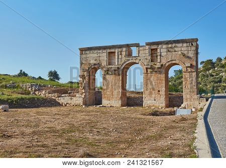The Well Preserved Ancient Triple Arched Triumphal Arch Located At The Entrance To The Patara Ancien