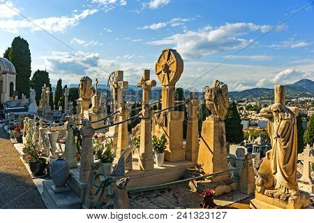 Nice, France - September 2, 2014: The Graveyard At Castle Hill, Which Was Founded In 1783, Where Som