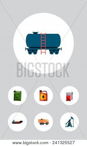 Icon Flat Fuel Set Of Ship, Oil Pump, Jerrycan And Other Vector Objects. Also Includes Oil, Jerrycan