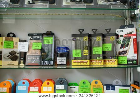 Vichuga, Russia - April 21, 2018: Power Bank For Charging Mobile Devices. Portable Chargers In The S