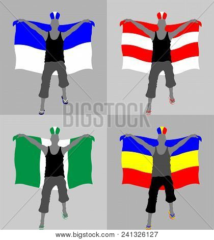 Sport Supporter Silhouette With Punk Hairstyle And Flag. All The Objects And Four Different Silhouet