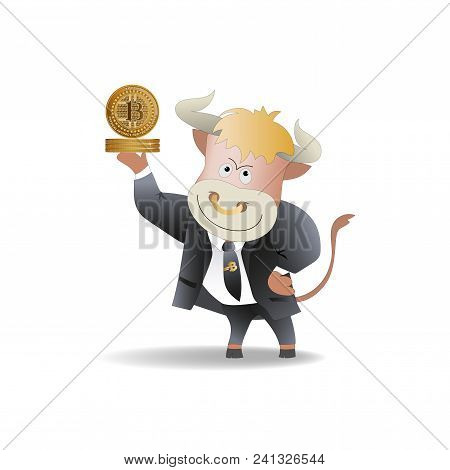 Bull Businessman Demonstrates Bitcoins. The Trader. Cryptography, An Illustration Of Financial Techn
