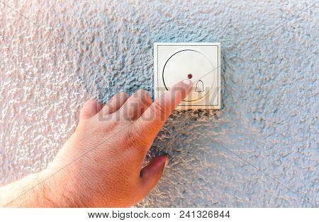 Hand Ringing On Doorbell, Man Finger Ringing On Doorbell