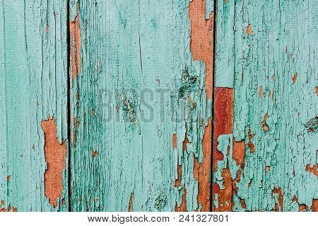 The Old Cracked Paint..over Time, The Paint Green Wood Grain, Background, Colorful, Cracks In The Pa