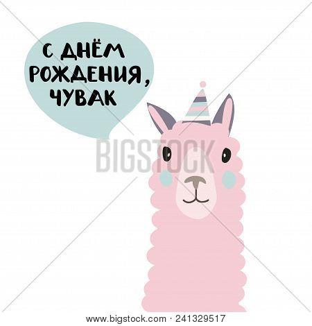 Russian Language Card. Translation: Happy Birthday, Dude.isolated Flat Illustration With Lama