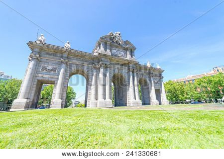 Famous monument known as Alcala gate located in Madrid, Spain