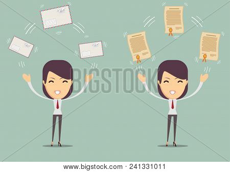 Woman With A Letter And Diploma. Stock Flat Vector Illustration.