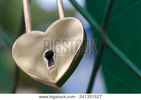 Padlock In The Form Of Gold Heart. Symbol Of The Wedding And The Unity Of The Couple. Royal. Stock P