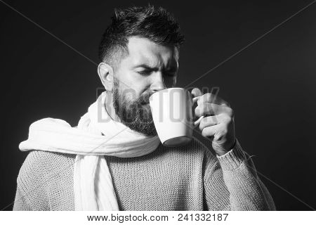 Enjoyment, Drinks, Leisure, Coffee Time And Season Concept - Happy Bearded Man Holds Cup And Enjoyin