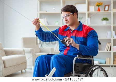 Disabled man measuring with meter