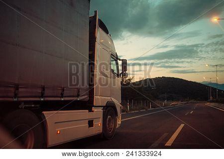 Argo Van, Truck, Kamion Transports Goods Or Items Between Countries. International Transportation Co