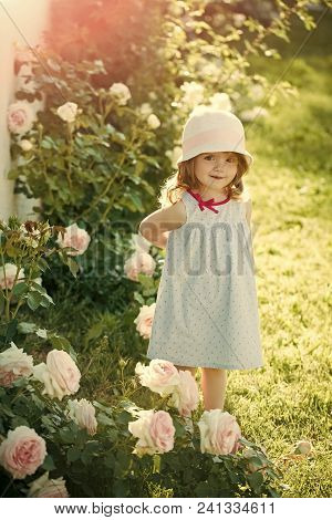 Happy Kid Having Fun. Childhood. Girl In Hat With Smiling In Summer Garden. Child Standing At Blosso