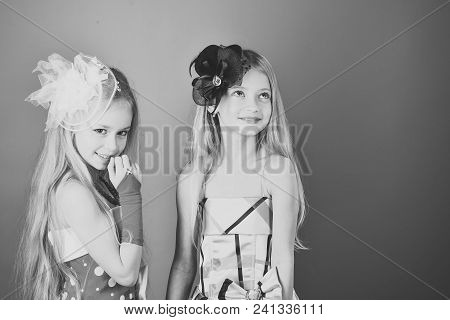 Child Childhood Children Happiness Concept. Fashion And Beauty, Little Princess. Friendship, Look, H