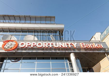 Belgrade, Serbia - April 29, 2018: Logo Of Opportunity Bank On Their Local Headquarters For Serbia.