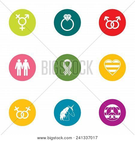 People Relation Icons Set. Flat Set Of 9 People Relation Vector Icons For Web Isolated On White Back