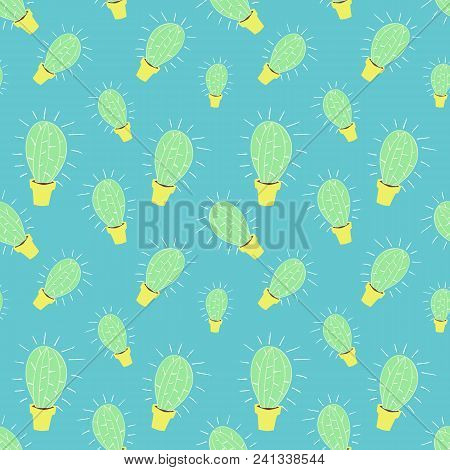 Home Blossom Green Cactus In Yellow Pot In Doodle Style, Flat Cartoon Colors, Seamless Pattern Isola