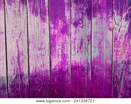 Pink Or Purple Wooden Background With Shadow. Close-up Wall Or Floor Wooden Purple Plank Panel Or Bo
