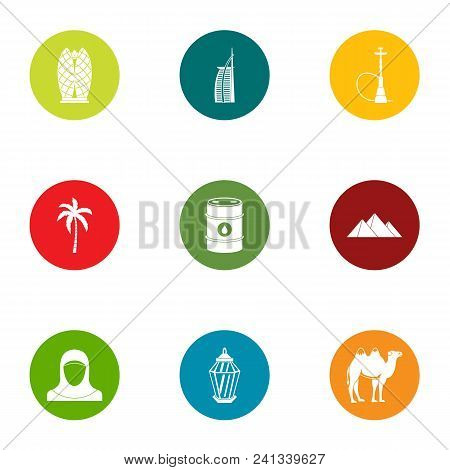 Desert Trip Icons Set. Flat Set Of 9 Desert Trip Vector Icons For Web Isolated On White Background