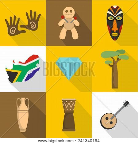 Africa Icons Set. Flat Set Of 9 Africa Vector Icons For Web Isolated On White Background