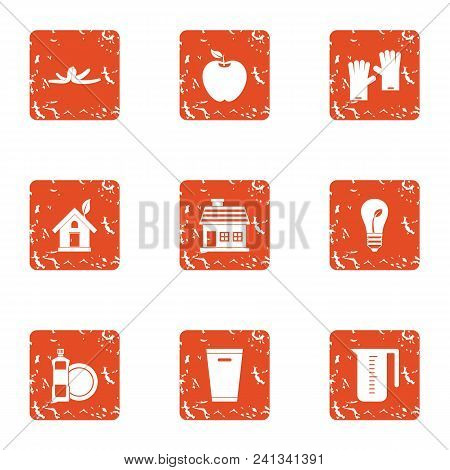 Environmental Pollution Icons Set. Grunge Set Of 9 Environmental Pollution Vector Icons For Web Isol