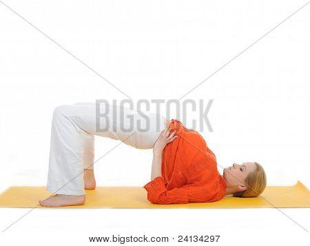 Series Or Yoga Photos. Young Woman Doing Yoga Pose On Yellow Pilates Mat