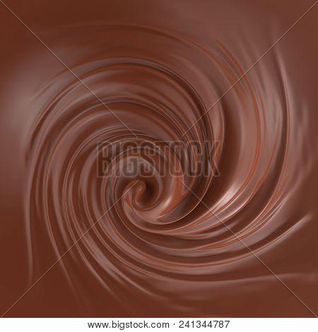 Milk Chocolate Cream Swirl Background. Food Backdrop. 3D Illustration.