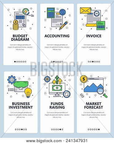 Vector Set Of Mobile App Onboarding Screens. Budget Diagram, Accounting, Invoice, Business Investmen