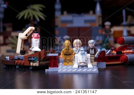 RUSSIA, April 12, 2018. Constructor Lego Star Wars. Episode IV, These aren't the droids you're looking for. Fragment from the Obi-Wan Kenobi