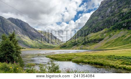 Valley View Below The Mountains Of Glencoe, Lochaber, Highlands, Scotland, Uk