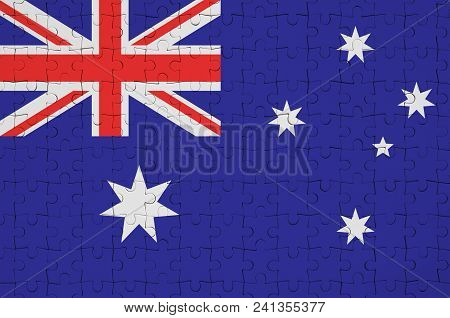Australia Flag  Is Depicted On A Folded Puzzle