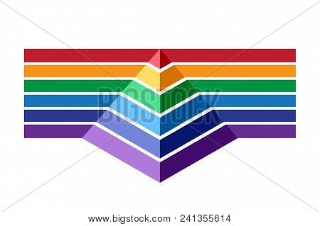 Colorful Stripes And Pyramid. Infographic Template For Business Presentation. Rainbow Color Vector I