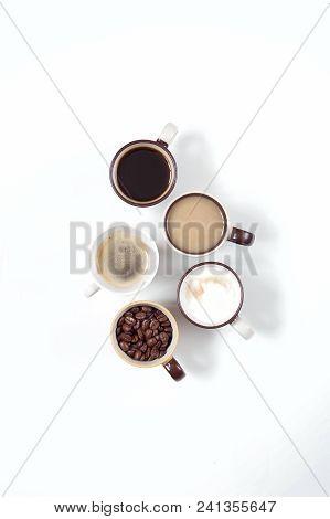 Coffee Time Coffee Break. Assorted Coffee Mugs Espresso Cappuccino Latte Coffee Bean. The Idea Of Th