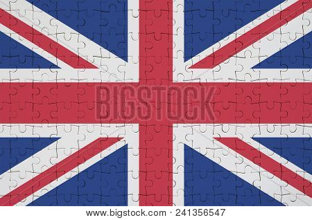 Great Britain Flag  Is Depicted On A Folded Puzzle