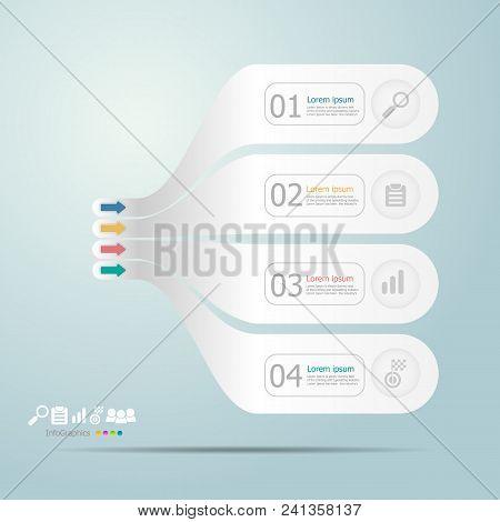 Illustration Of Timeline Infographics 4 Steps For Business Presentation Vector Background