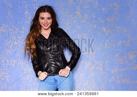Fashion Model Young Smile Woman In Black Leather Jacket. Pixie Cut Hairstyle. Punk, Rock Style Fashi