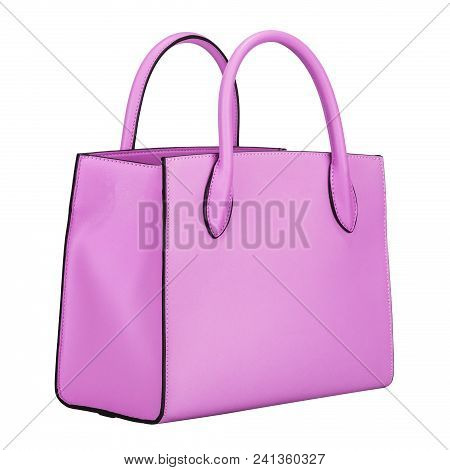 Fashionable Light Purple Classic Women's Handbag Of Solid Leather With Embossed Stripes Side View Is