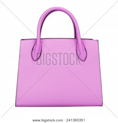 Fashionable Light Purple Classic Women's Handbag Of Solid Leather With Embossed Stripes Front View I
