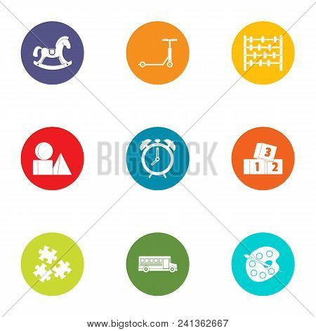 Miniature Toy Icons Set. Flat Set Of 9 Miniature Toy Vector Icons For Web Isolated On White Backgrou